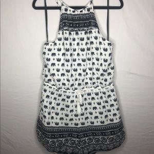 Elephant pattern romper black and white . 1X
